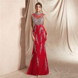 Haut de Gamme Rouge Transparentes Robe De Soirée 2020 Trompette / Sirène Col Haut Sans Manches Paillettes Perlage Longue Robe De Ceremonie