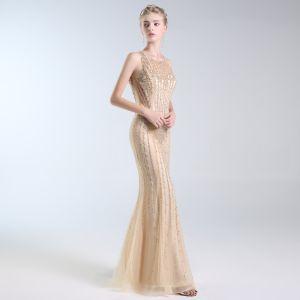 Luxe Doré Robe De Soirée 2019 Trompette / Sirène Encolure Dégagée Fait main Perlage Cristal Perle Paillettes Sans Manches Longue Robe De Ceremonie