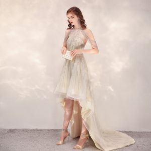 Wysoka Niska  Szampan Przezroczyste Sukienki Koktajlowe 2020 Princessa Wycięciem Bez Rękawów Wykonany Ręcznie Frezowanie Asymetryczny Wzburzyć Sukienki Wizytowe