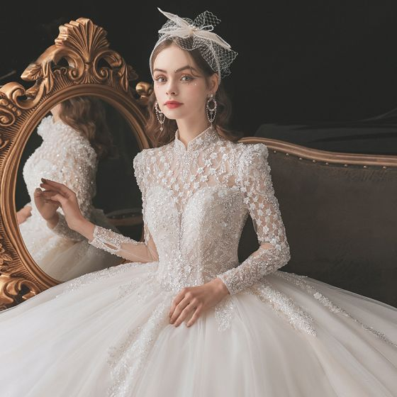 Chinese style Vintage / Retro Ivory Beading Wedding Dresses 2021 Ball Gown High Neck Pearl Sequins Long Sleeve Backless Royal Train Wedding