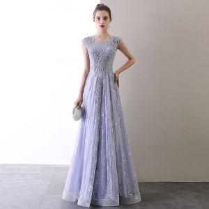 High End Lavendel Abendkleider 2020 A Linie Rundhalsausschnitt Perlenstickerei Perle Strass Spitze Blumen Ärmellos Rückenfreies Lange Festliche Kleider