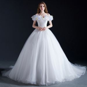 Cinderella White Prom Dresses 2017 Ball Gown Off-The-Shoulder Short Sleeve Butterfly Appliques Flower Chapel Train Ruffle Backless Formal Dresses