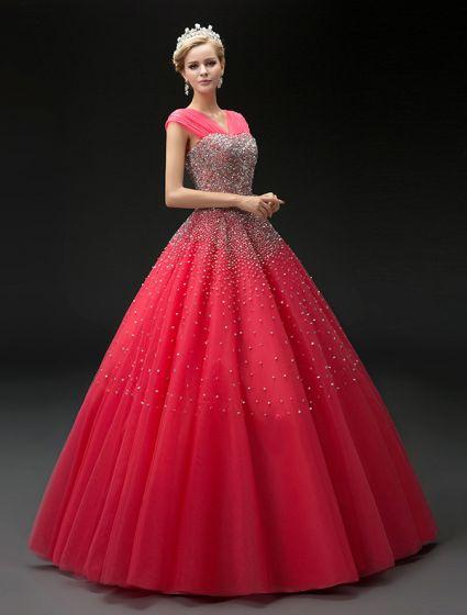 2016 Mode Ballkleid Rotem Tüll Mit V-ausschnitt Pailletten Abschlussballkleid