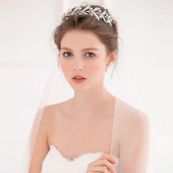 Gren Form Brude Rhinestone Tiara / Blomst Hovedklæde / Bryllup Tilbehør