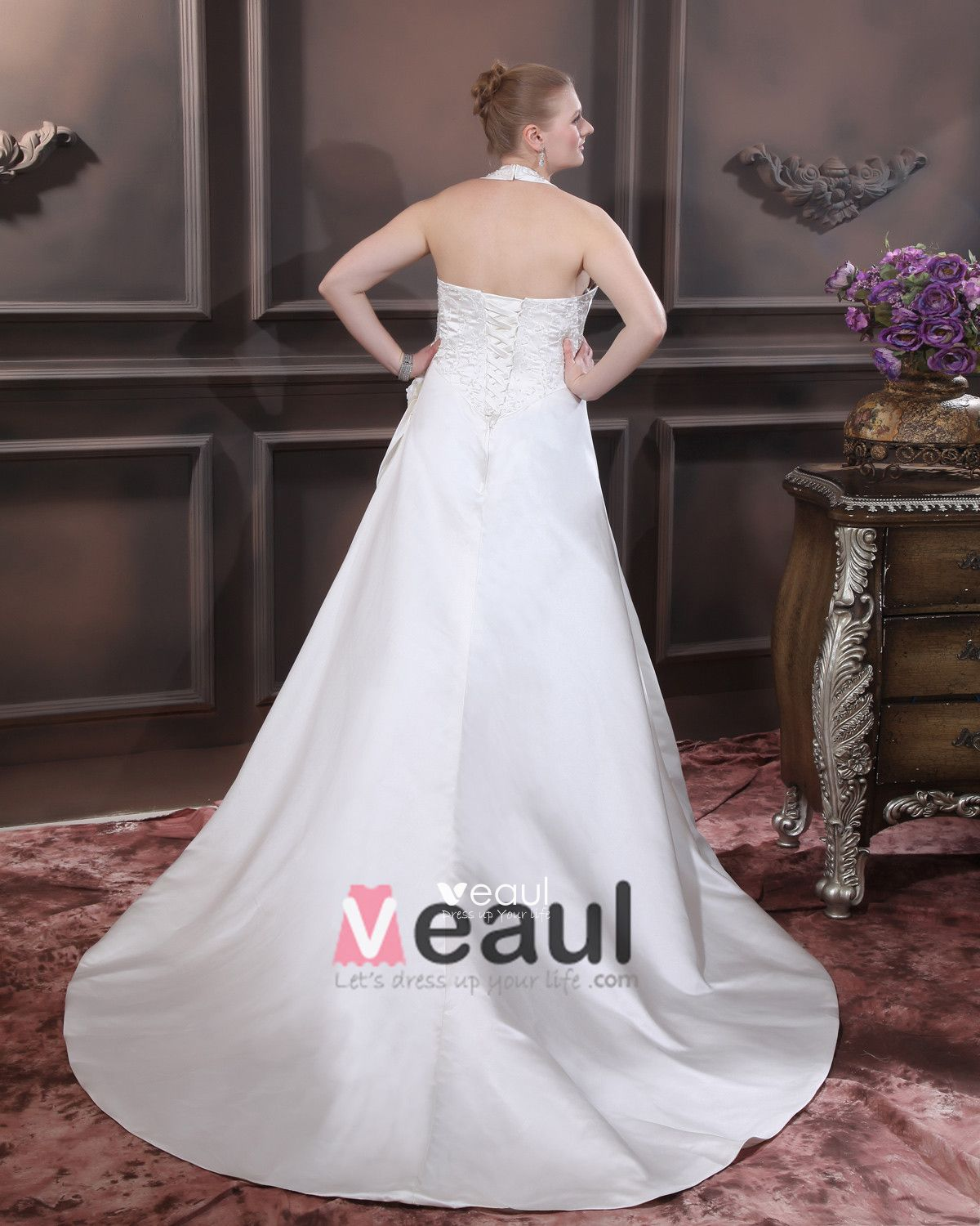 Satin Beading Ruffles V Neck Court Plus Size Bridal Gown Wedding Dress