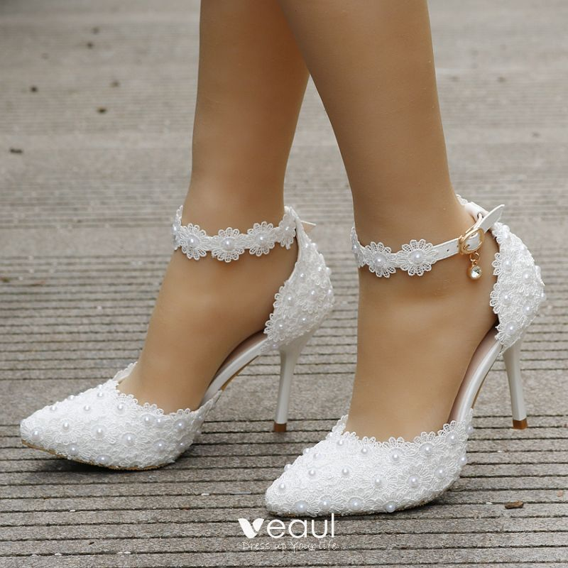 598eb4a1a5f Charming Ivory Wedding Shoes 2018 Lace Rhinestone Pearl Ankle Strap ...