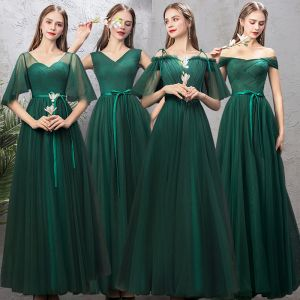 Affordable Dark Green Bridesmaid Dresses 2019 A-Line / Princess Sash Floor-Length / Long Ruffle Backless Wedding Party Dresses