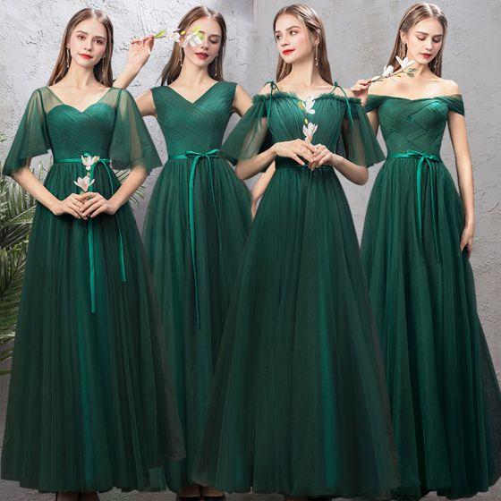 Affordable Dark Green Bridesmaid Dresses 2019 A-Line / Princess Sash Floor-Length / Long Ruffle Backless Wedding Party Dresses