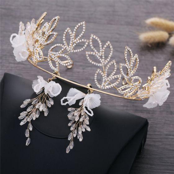 Eleganckie Złote Ślub Biżuteria Ślubna 2019 Metal Kwiat Rhinestone Tiara Kryształ Kolczyki Akcesoria