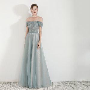 Elegant Green Evening Dresses  2019 A-Line / Princess Off-The-Shoulder Short Sleeve Glitter Tulle Floor-Length / Long Ruffle Backless Formal Dresses
