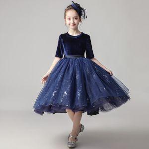 Chic / Beautiful Navy Blue Velour Birthday Flower Girl Dresses 2020 Ball Gown Scoop Neck 1/2 Sleeves Sash Sequins Glitter Tulle Short Ruffle