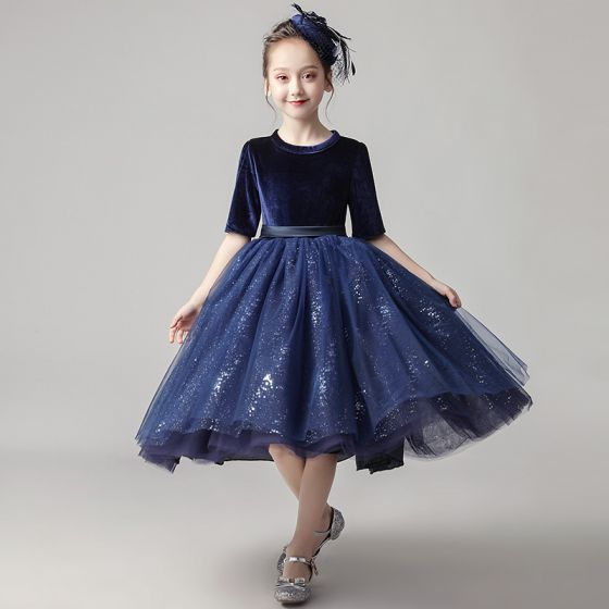 Chic / Beautiful Navy Blue Velour Birthday Flower Girl Dresses 2020 Ball Gown Scoop Neck 1/2 Sleeves Sash Sequins Glitter Tulle Short Ruffle