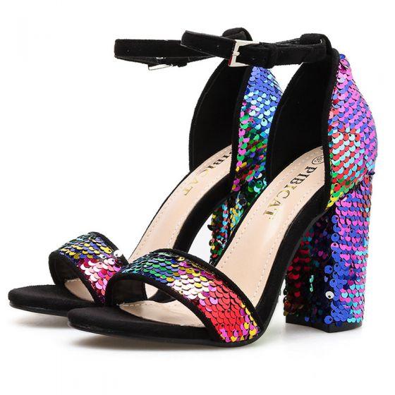 Rimelig Multi-Farger Paljetter Aften Sandaler Dame 2020 Ankelstropp 10 cm Tykk Hæler Peep Toe Sandaler