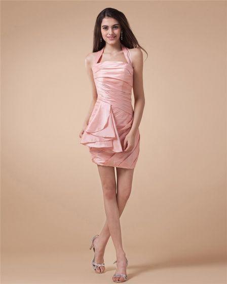 Kantar Wzburzyc Rekawow Zasznurowac Kobieta Tafty Długosc Mini Tanie Sukienki Koktajlowe Sukienki Wizytowe