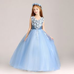 Chic / Beautiful Pool Blue Flower Girl Dresses 2020 Ball Gown V-Neck Sleeveless Appliques Lace Flower Beading Pearl Floor-Length / Long Ruffle