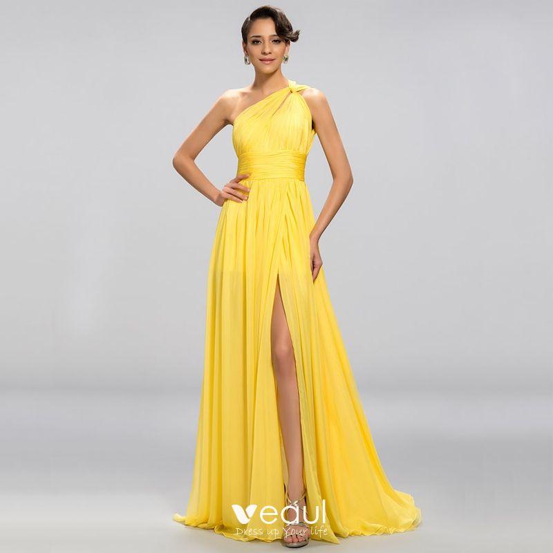 Elegante Klassisch Charmant Gelb Empire Abendkleider 2020 ...