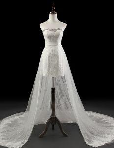 Löstagbara Korta Mini Brudklänning Spets Bröllopsklänningar