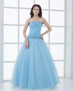 Ball Gown Organza Strapless Beading Ruffle Manual Flower Pattern Floor Length Quinceanera Prom Dresses