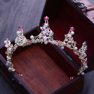 Chic / Beautiful Candy Pink Bridal Jewelry 2017 Metal Beading Crystal Rhinestone Headpieces Wedding Prom Accessories