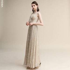 Glittrande Champagne Paljetter Aftonklänningar 2020 Prinsessa V-Hals Korta ärm Halterneck Långa Formella Klänningar