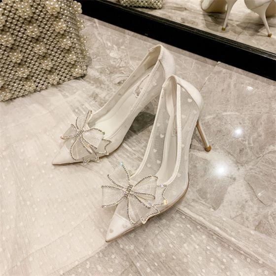 Charmant Witte Bruidsschoenen 2020 Rhinestone Strik 10 cm Naaldhakken / Stiletto Spitse Neus Huwelijk Pumps
