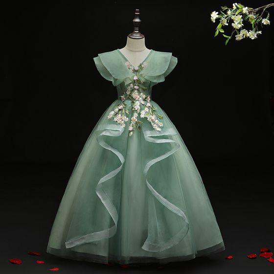 Flower Fairy Green Birthday Flower Girl Dresses 2021 Ball Gown V-Neck Sleeveless Backless Appliques Lace Flower Beading Floor-Length / Long Ruffle