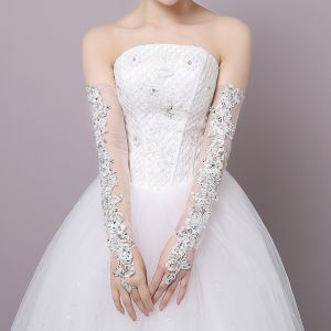 Chic / Beautiful White Wedding 2018 Lace-up Tulle Beading Sequins Bridal Gloves