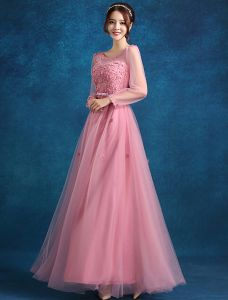 Empire Scoop Neckline Beading Applique Flowers Pink Tulle Evening Dress
