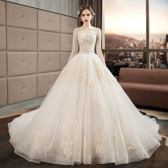 crazy price hot sales super cute Audrey Hepburn Style Ivory Wedding Dresses 2019 Ball Gown Scoop Neck  Beading Sequins Lace Flower Long Sleeve Backless Royal Train