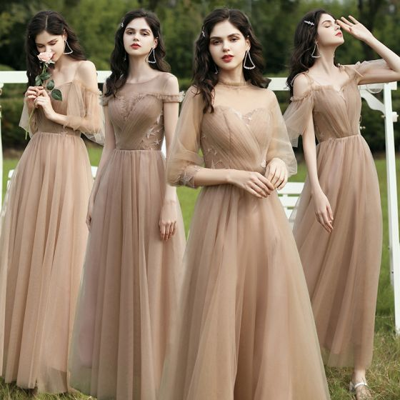 Modest / Simple Champagne Bridesmaid Dresses 2021 A-Line / Princess Scoop Neck Short Sleeve Backless Floor-Length / Long Wedding Party Dresses