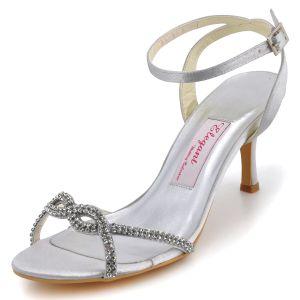 Zomer Modellen Mode Handgemaakte Strass Hoge Hakken Satijnen Trouwschoenen Bruidsschoenen Feestschoenen Van Eenvoud