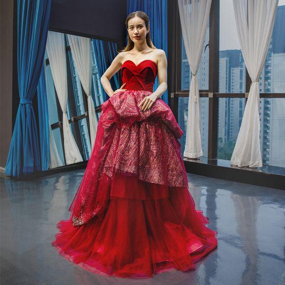 High-end Burgundy Suede Evening Dresses  2020 Ball Gown Sweetheart Sleeveless Glitter Tulle Floor-Length / Long Ruffle Backless Formal Dresses
