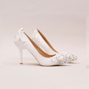 Chic / Beautiful White 2017 Wedding Shoes Lace Beading Rhinestone Crystal Wedding Womens Shoes