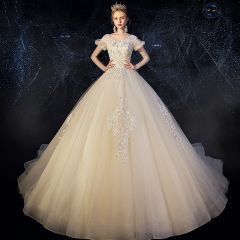 Chic / Beautiful Champagne Wedding Dresses 2019 A-Line / Princess Scoop Neck Puffy Short Sleeve Backless Appliques Lace Beading Glitter Tulle Chapel Train Ruffle