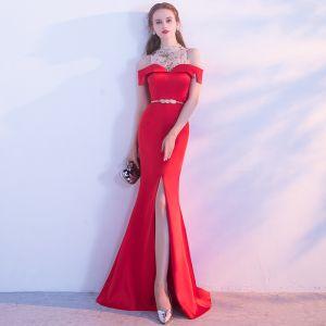 Schöne Rot Abendkleider 2017 Glanz A Linie Rückenfreies Mit Spitze Chiffon Bandeau Abend Festliche Kleider