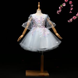 Chic / Beautiful Sky Blue Flower Girl Dresses 2017 Ball Gown Appliques Rhinestone Scoop Neck Backless 1/2 Sleeves Short Wedding Party Dresses