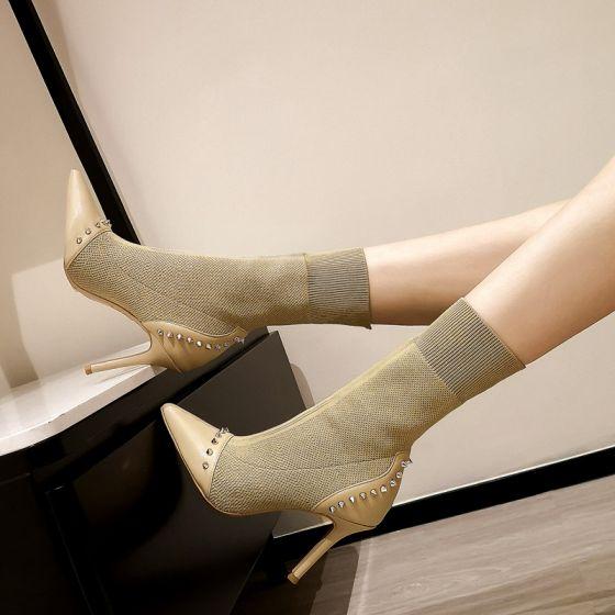 Chic / Beautiful Beige Street Wear Womens Boots 2020 Rivet 9 cm Stiletto Heels Pointed Toe Boots
