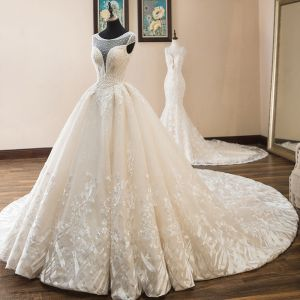 Luxury / Gorgeous Champagne Wedding Dresses 2019 A-Line / Princess Scoop Neck Beading Pearl Sequins Lace Flower Cap Sleeves Backless Cathedral Train