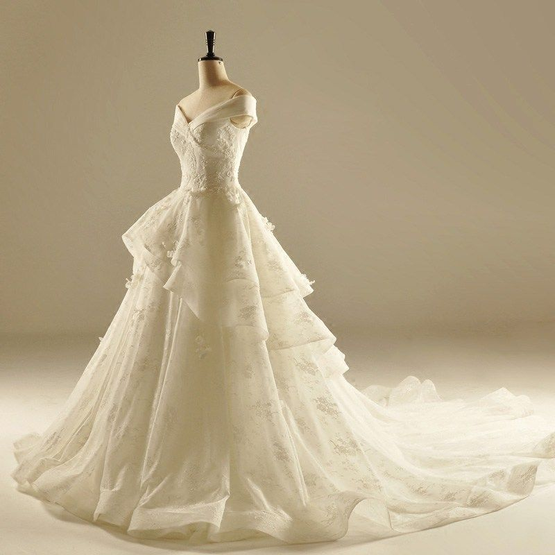 Chic / Beautiful Hall Wedding Dresses 2017 Lace Appliques Crystal Rhinestone Off-The-Shoulder Short Sleeve Backless Cathedral Train Ivory Ball Gown