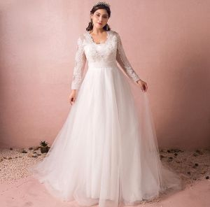 Chic / Beautiful Ivory Plus Size Wedding Dresses 2018 A-Line / Princess V-Neck Lace-up Tulle Zipper Up Appliques Backless Beading Sequins Wedding