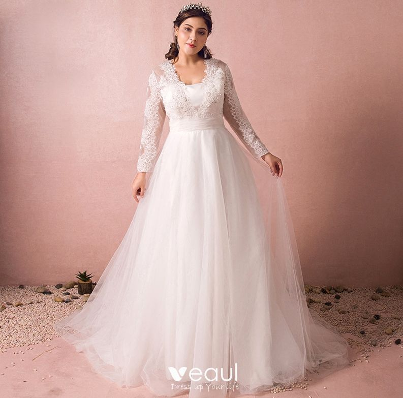 Chic Beautiful Ivory Plus Size Wedding Dresses 2018 A Line Princess V Neck Lace Up Tulle Zipper Liques Backless Beading Sequins