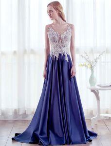 Schöne Abendkleider 2017 U-ausschnitt Sicken Perlen-spitze Langen Kleid