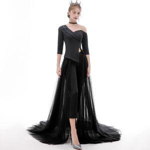 Fashion Black Jumpsuit 2020 One-Shoulder 1/2 Sleeves Detachable Sweep Train Ruffle Backless Evening Dresses