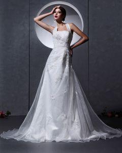 Organza Aplikacja Kantar Koralik Wzburzyc Przystrojenie Kaplicy-line Suknie Ślubne Suknia Ślubna Princessa