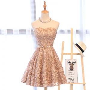 Lovely Pearl Pink Homecoming Graduation Dresses 2017 A-Line / Princess Lace Rhinestone Appliques Sweetheart Crossed Straps Sleeveless Short