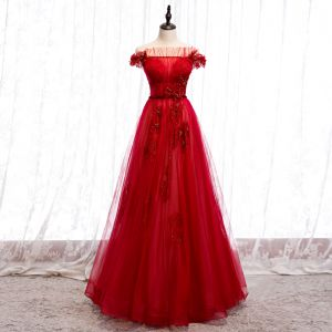 Chic / Beautiful Red Evening Dresses  2020 A-Line / Princess Off-The-Shoulder Short Sleeve Sash Appliques Lace Beading Floor-Length / Long Ruffle Backless Formal Dresses