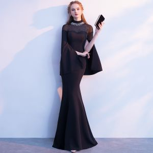 Elegant Black Evening Dresses  2018 Trumpet / Mermaid Rhinestone High Neck Long Sleeve Floor-Length / Long Formal Dresses