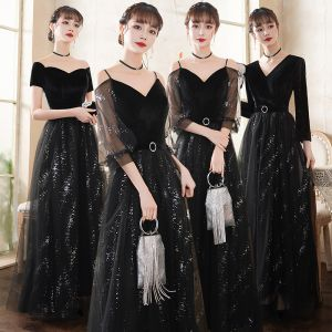 Affordable Black Evening Dresses  2020 A-Line / Princess Suede Sash Sequins Short Sleeve Backless Floor-Length / Long Formal Dresses