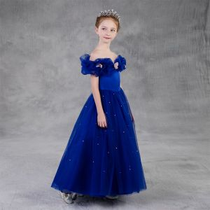 Cinderella Royal Blue Birthday Flower Girl Dresses 2020 Princess Off-The-Shoulder Short Sleeve Backless Appliques Butterfly Beading Pearl Floor-Length / Long Ruffle