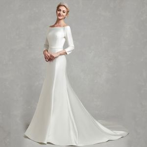 Classic Elegant White Wedding Dresses 2020 Trumpet / Mermaid Off-The-Shoulder Long Sleeve Satin Covered Button Sweep Train Wedding